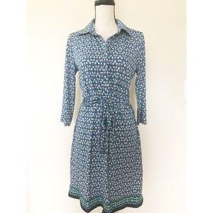 Max Studio |  Blue & Green Print Shirt Dress M